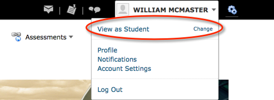 Selecting View as Student