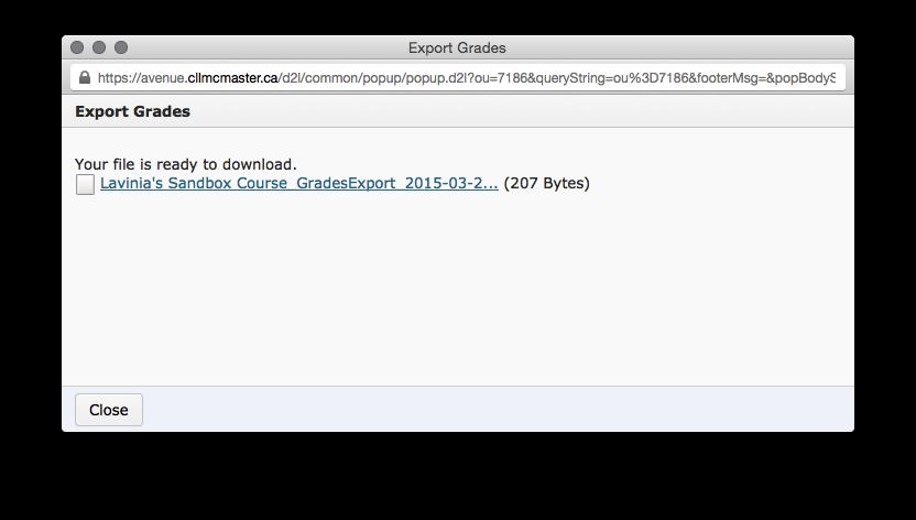 Export Grades pop-up window