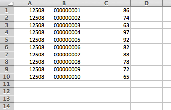 Final spreadsheet consisting of class number, student number, and the final grade