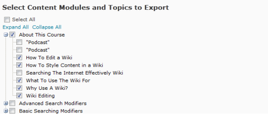 Selecting Content and Modules to Export